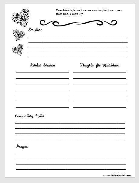Bible Study Note Sheets Free Printable Say It With