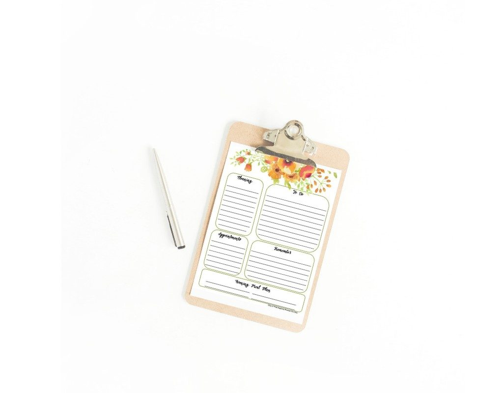 daily planner sheet