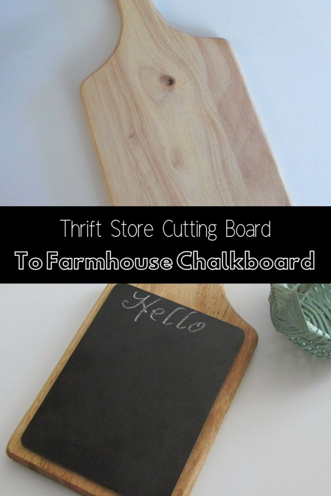make a farmhouse chalkboard from a thrift store cutting board