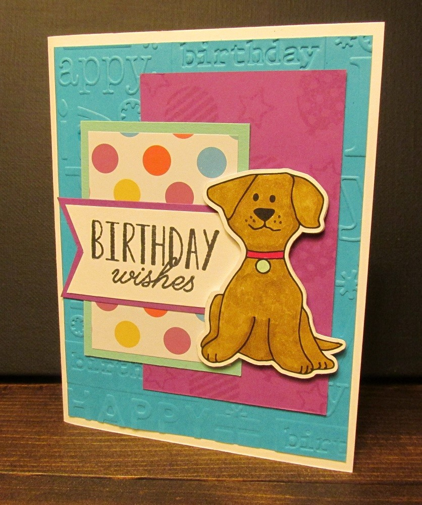 Birthday Wishes Card With Hand Drawn Digital Stamp