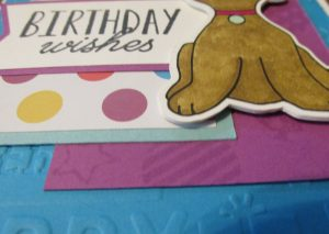 close up of handcrafted birthday card made with digi stamp