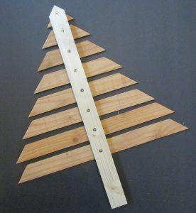assembling scrap wood Christmas tree