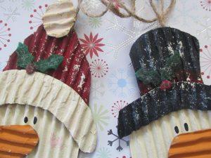 cardboard snowman Christmas ornaments