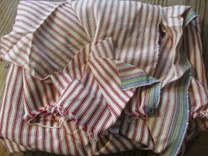 red ticking stripe fabric