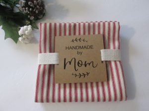 ticking stripe farmhouse tea towel with label