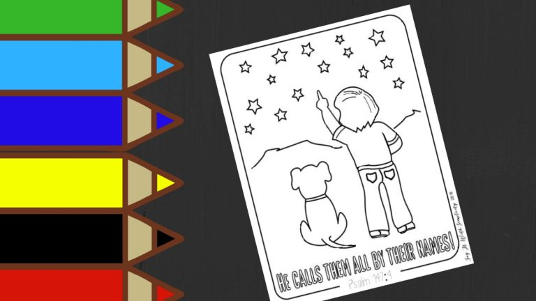 Psalm 147:4 Kids Coloring Page