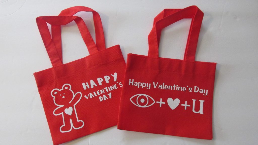 Dollar Tree Mini Fabric Totes Valentines Day