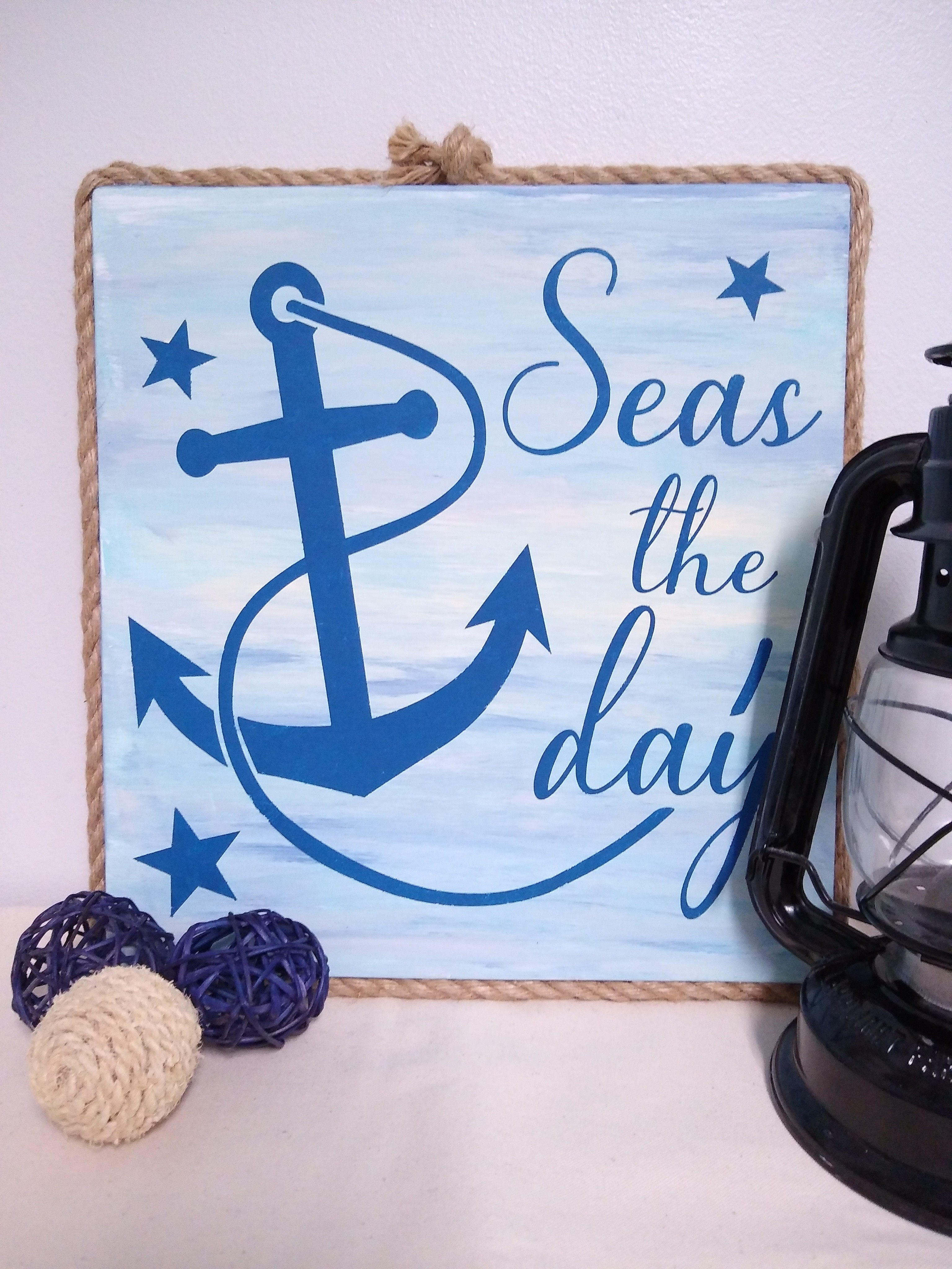 seas the day wood sign