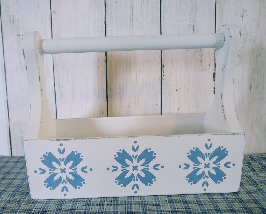 folk art inspired wood tote