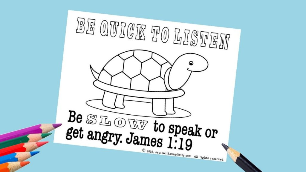 James 1:19 coloring page