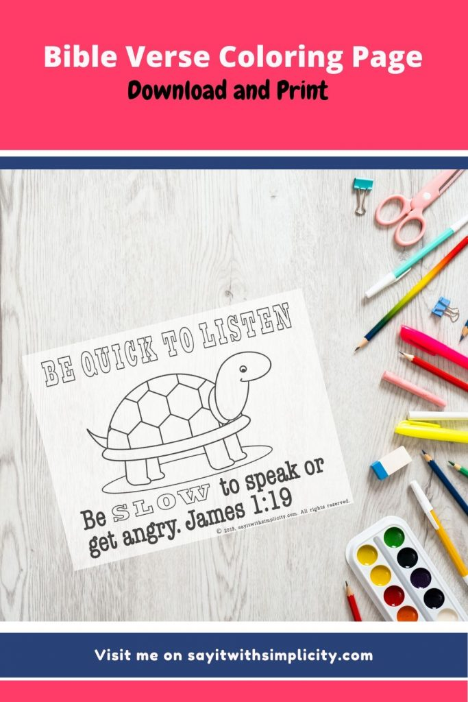 James 1:19 Coloring page pin image