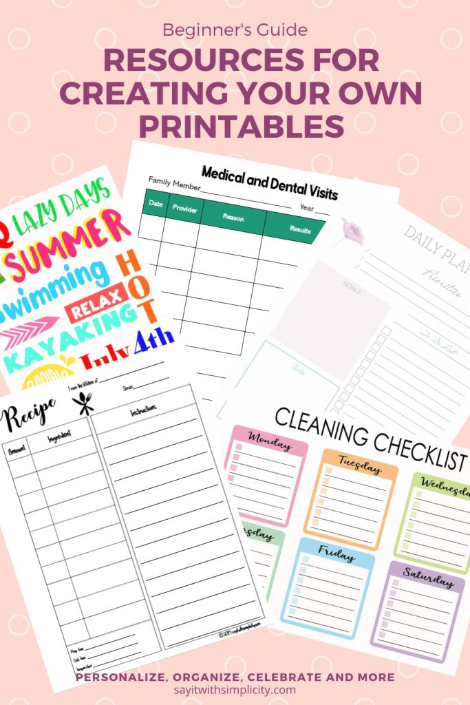 Pinterest Resources for Creating Printables