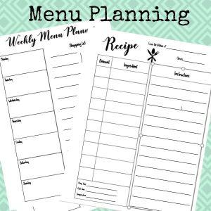 making printables menu planners