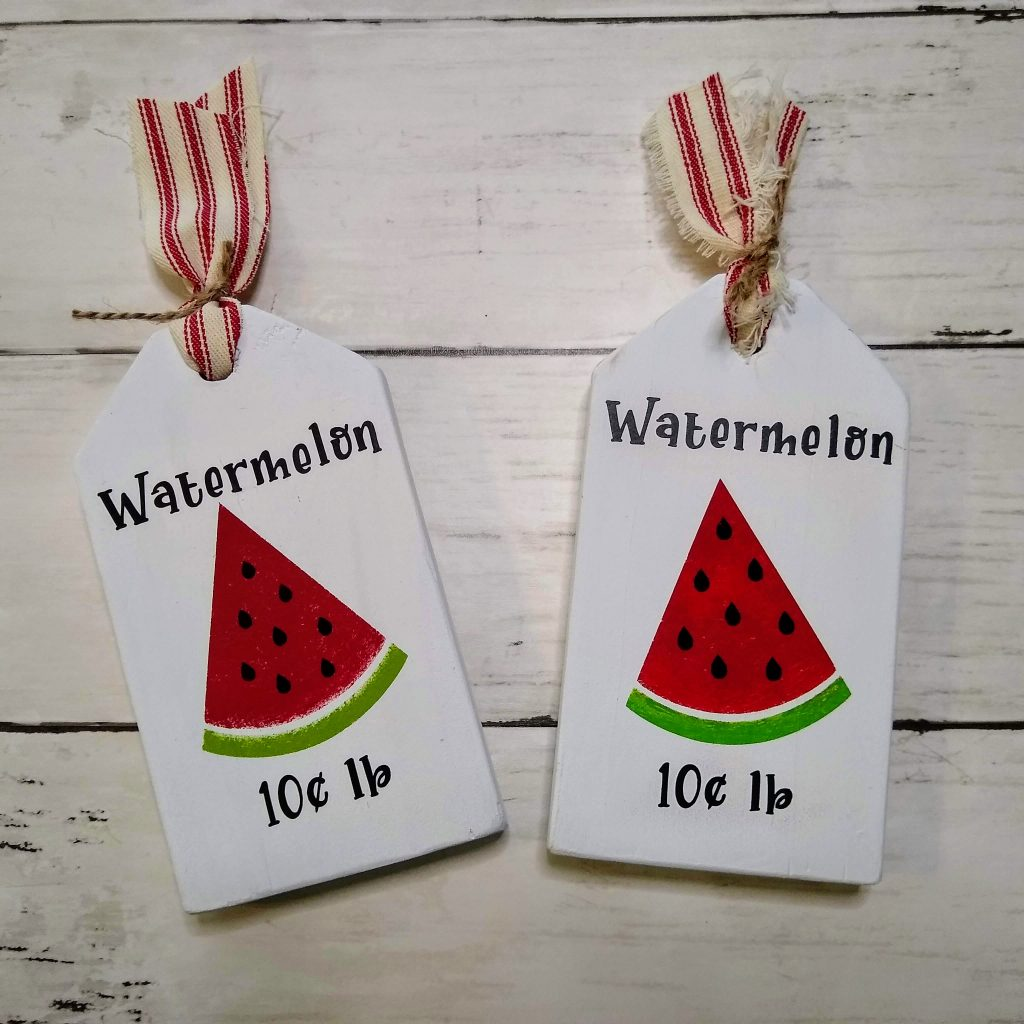 watermelon wood tags farmhouse tray decor
