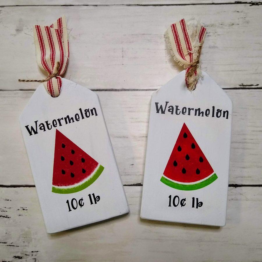 watermelon wood tags farmhouse tray decor