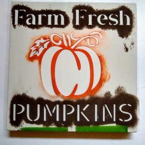 image of farm fresh pumpkins stencil