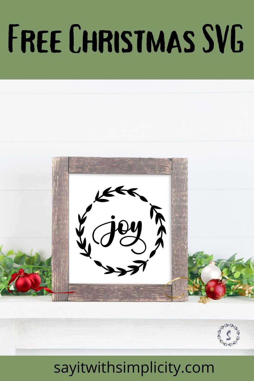 Pinterest image for Free Joy Wreath SVG