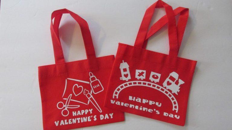 Dollar Tree Mini Fabric Tote Valentines