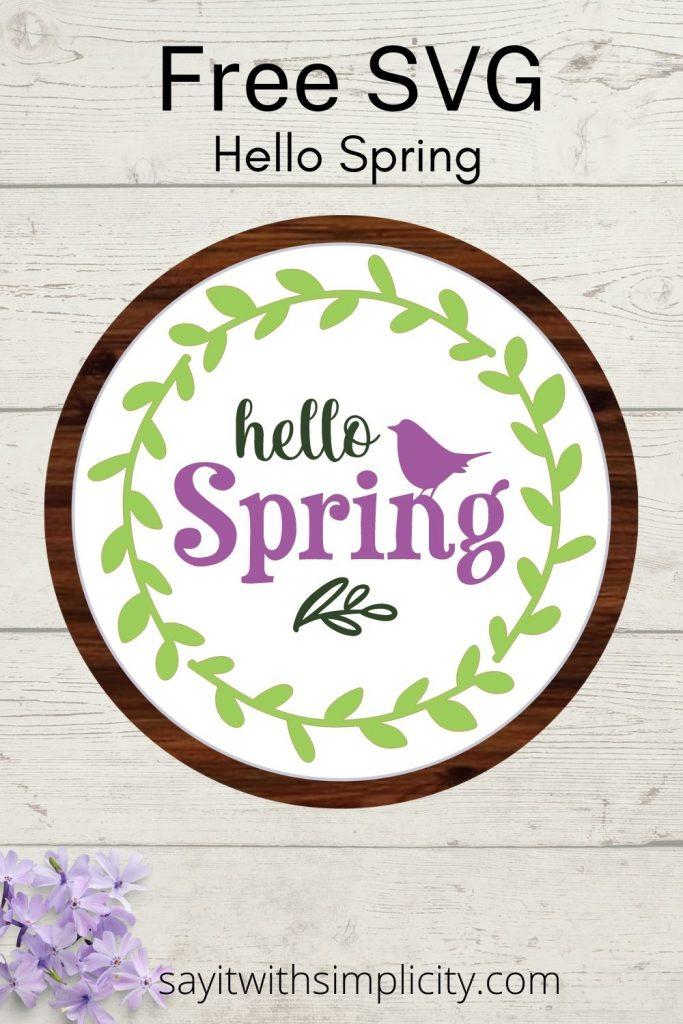 Hello Spring SVG Pinterest Image