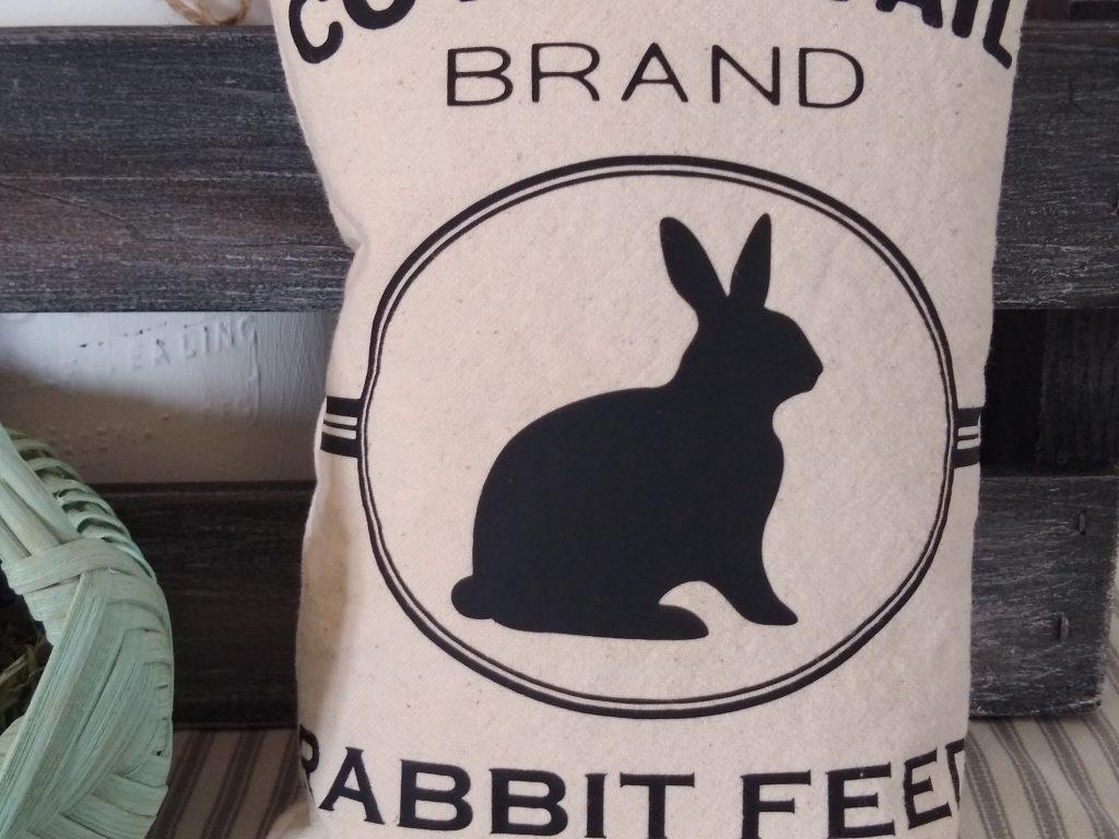 Close up of Rabbit Feed Sack Craft