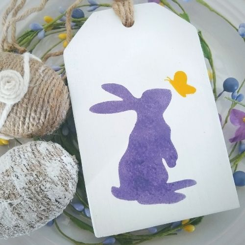 DIY Easy Wood Tag with Bunny and Butterfly