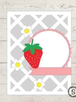 Lattice Strawberry Card Cut File