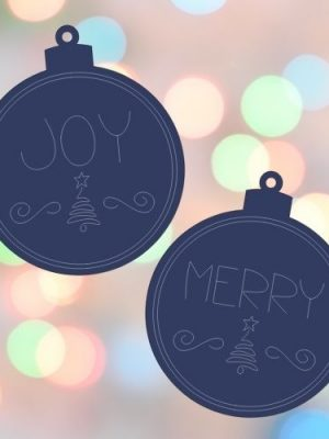 Joy and Merry Single Line Ornaments