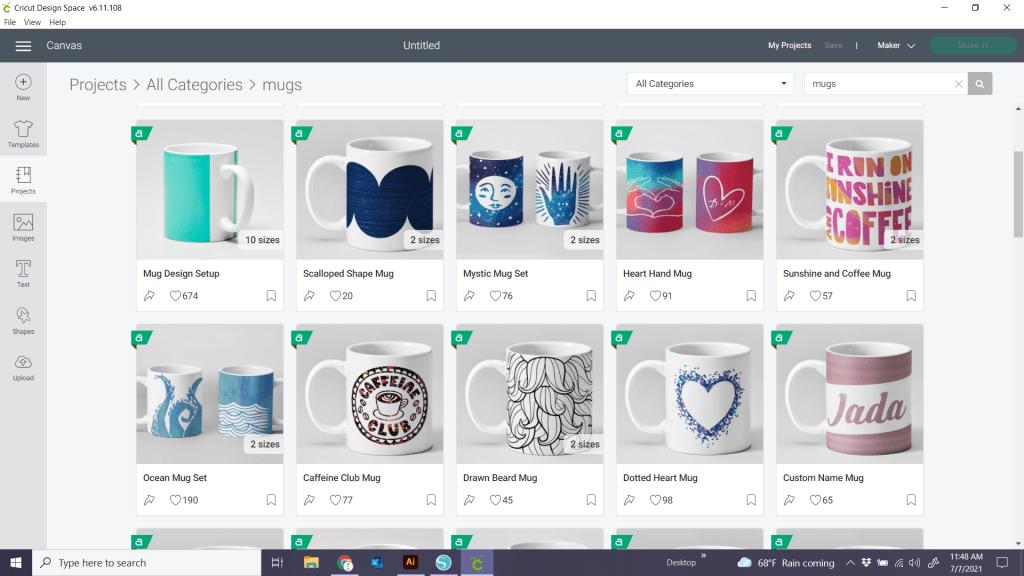 mug press templates in Cricut Design Space